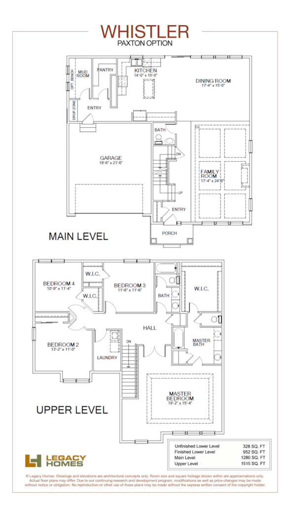Legacy Homes Whistler Floor Plan Paxton Min